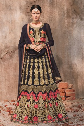 Black Embroidered Stone Work Georgette Fabric Anarkali Suit With Dupatta