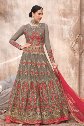 Embroidered Stone Work Grey Georgette Fabric Anarkali Suit With Dupatta