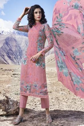 Pink Organza Printed Stone Work Designer Salwar Suit With Dupatta
