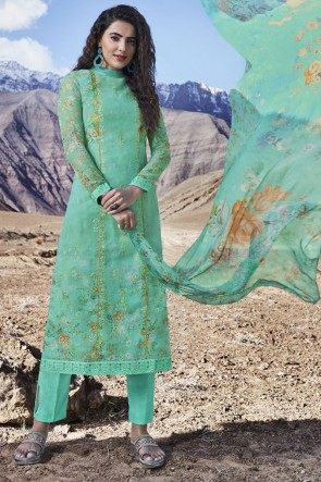Organza Sea Green Printed Stone Work Designer Salwar Suit With Dupatta