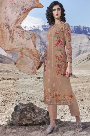 Printed Stone Work Brown Organza Fabric Salwar Suit With Dupatta
