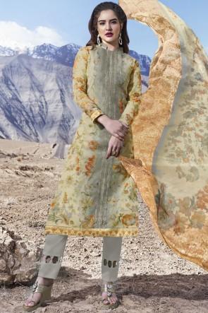 Grey Printed Stone Work Organza Fabric Salwar Suit With Dupatta
