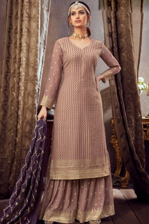 Georgette Chikoo Embroidered Lace Work Plazzo Suit With Dupatta
