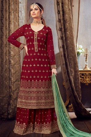 Embroidered Lace Worked Maroon Georgette Plazzo Suit With Dupatta
