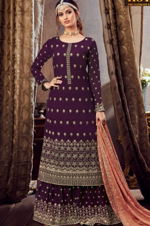 Georgette Wine Embroidered Lace Work Plazzo Suit With Dupatta