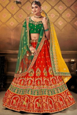 Satin Fabric Embroidery Lace Work Bridal Wear Green Lehenga Choli With Dupatta