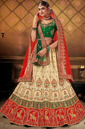 Satin Fabric Bridal Wear Red Lace Work Embroidered Lehenga Choli With Dupatta