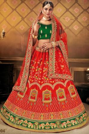 Embroidery Lace Work Bridal Wear Beige Satin Fabric Lehenga Choli With Dupatta