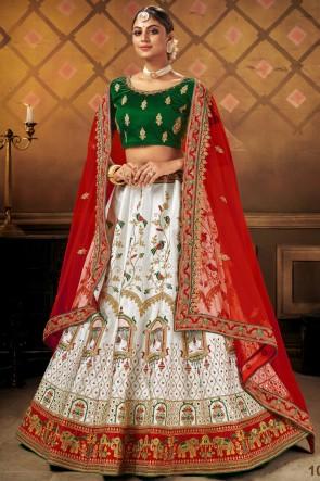Sky Blue Satin Fabric Embroidery Lace Work Lehenga Choli With Dupatta