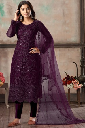 Wine Embroidered Lace Work Net Fabric Salwar Suit With Dupatta