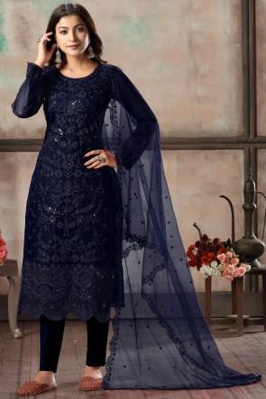 Net Navy Blue Embroidered Lace Work Work Designer Salwar Suit With Dupatta
