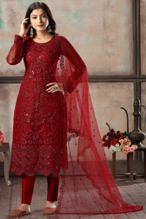 Embroidered Lace Work Red Net Fabric Salwar Kameez With Dupatta