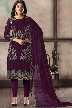 Wine Embroidered Lace Work Faux Georgette Fabric Salwar Suit With Dupatta