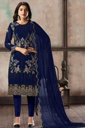 Faux Georgette Navy Blue Embroidered Lace Work Work Designer Salwar Suit With Dupatta