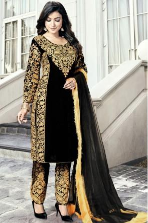 Black Embroidered Lace Work Velvet Designer Salwar Suit With Dupatta