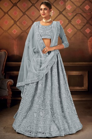 Grey Embroidery Lace Work Net Fabric Lehenga Choli With Dupatta