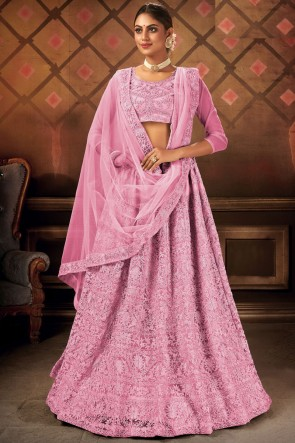 Net Fabric Embroidery Lace Work Pink Lehenga Choli With Dupatta