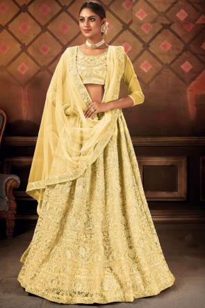 Net Fabric Yellow Lace Work Embroidered Lehenga Choli With Dupatta