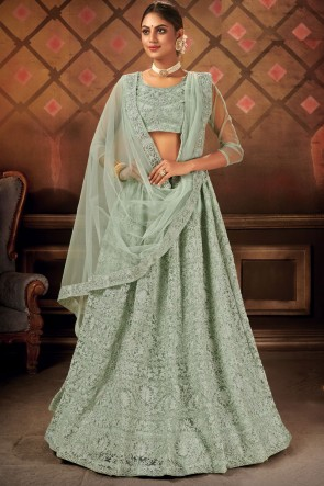 Embroidery Lace Work Sea Green Net Fabric Lehenga Choli With Dupatta