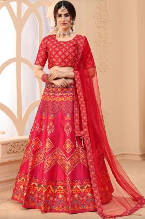 Designer Pink Art Silk Fabric Lehenga Choli With Dupatta