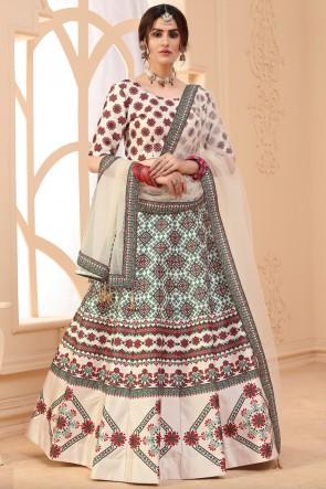 Art Silk Fabric Designer Beige Lehenga Choli With Dupatta
