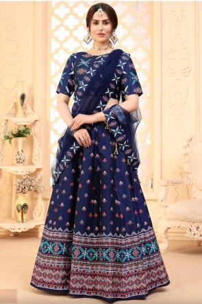Designer Navy Blue Art Silk Fabric Lehenga Choli With Dupatta