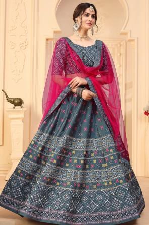 Art Silk Fabric Designer Grey Lehenga Choli With Dupatta