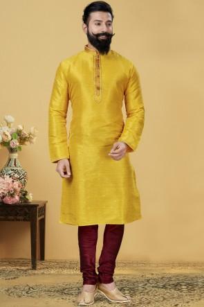 Jacqaurd Silk Fabric Yellow Designer Kurta Payjama