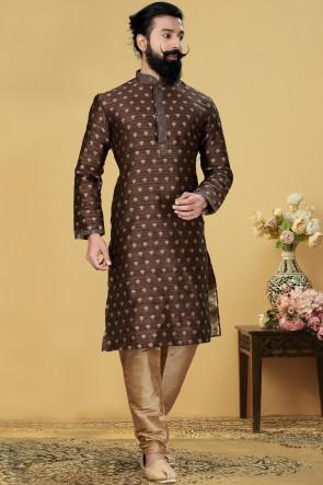 Jacqaurd Silk Fabric Brown Stylish Kurta Payjama