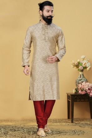 Jacqaurd Silk Fabric Beige Kurta Payjama