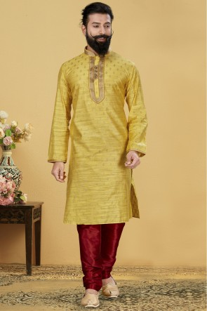 Yellow Jacqaurd Silk Fabric Kurta Payjama