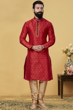 Red Jacqaurd Silk Fabric Kurta Payjama
