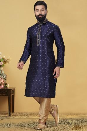 Jacqaurd Silk Fabric Navy Blue Stylish Kurta Payjama