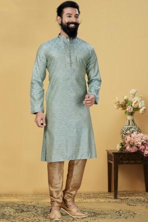 Jacqaurd Silk Fabric Sky Blue Stylish Kurta Payjama