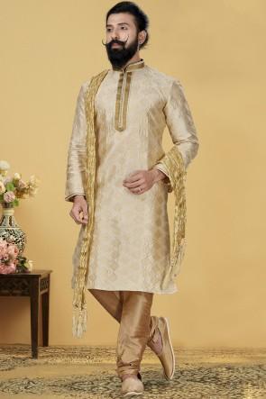 Beige Jacqaurd Silk Fabric Kurta Payjama