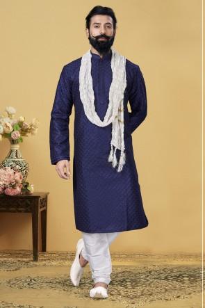 Dhupion Fabric Navy Blue Stylish Kurta Payjama