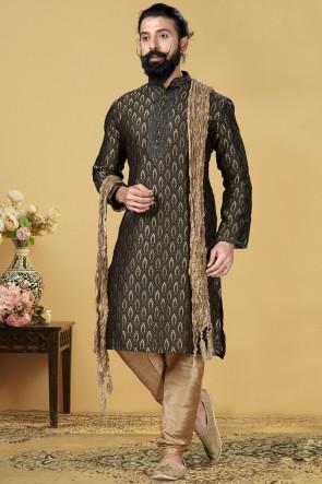 Jacqaurd Silk Fabric Black Kurta Payjama