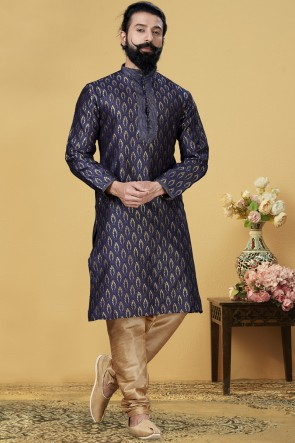 Navy Blue Jacqaurd Silk Fabric Kurta Payjama