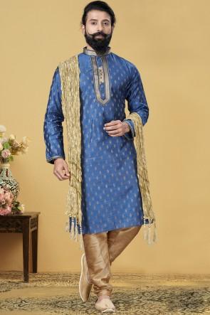 Jacqaurd Silk Fabric Blue Stylish Kurta Payjama