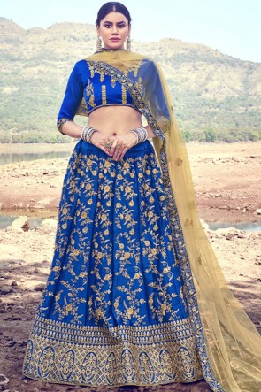Satin Fabric Designer Blue Zari Work Embroidered Lehenga Choli With Dupatta