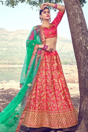 Embroidery Zari Work Designer Pink Satin Fabric Lehenga Choli With Dupatta