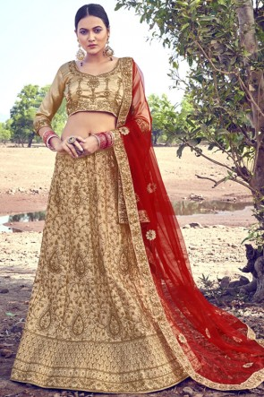 Zari Work Embroidered Beige Satin Designer Lehenga Choli With Dupatta