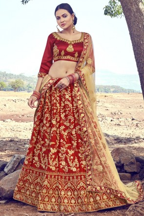 Maroon Satin Fabric Embroidery Zari Work Lehenga Choli With Dupatta
