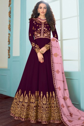 Abaya Style Purple Embroidered Fuax Georgette Anarkali Suit With Georgette Dupatta
