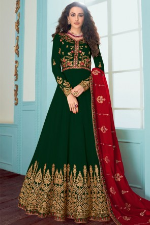 Green Fuax Georgette Embroidered Abaya Style Anarkali Suit With Georgette Dupatta