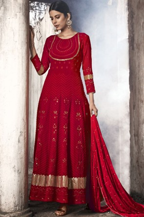 Embroidered Red Fuax Georgette Abaya Style Anarkali Suit With Nazmin Dupatta