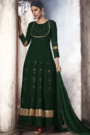 Green Fuax Georgette Embroidered Abaya Style Anarkali Suit With Nazmin Dupatta