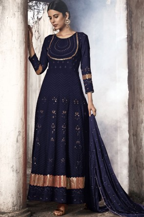 Abaya Style Blue Embroidered Fuax Georgette Anarkali Suit With Nazmin Dupatta