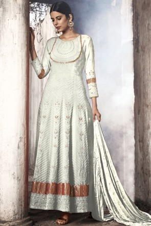 White Fuax Georgette Embroidered Abaya Style Anarkali Suit With Nazmin Dupatta