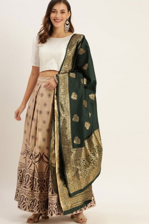 Heavy Designer Brown Zari Jacquard Work Satin Lehenga Choli With Dupatta